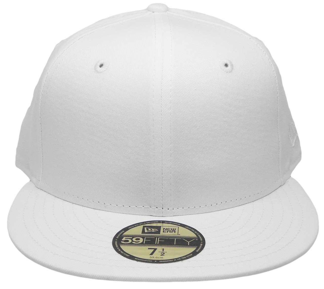 Plain Blank New Era Custom-made 59Fifty Fitted Hat - All White -  ECapsUnlimited.com 3152d3eaa7e