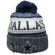 Dallas Cowboys New Era Onfield18 Knitted Hat - Navy, White