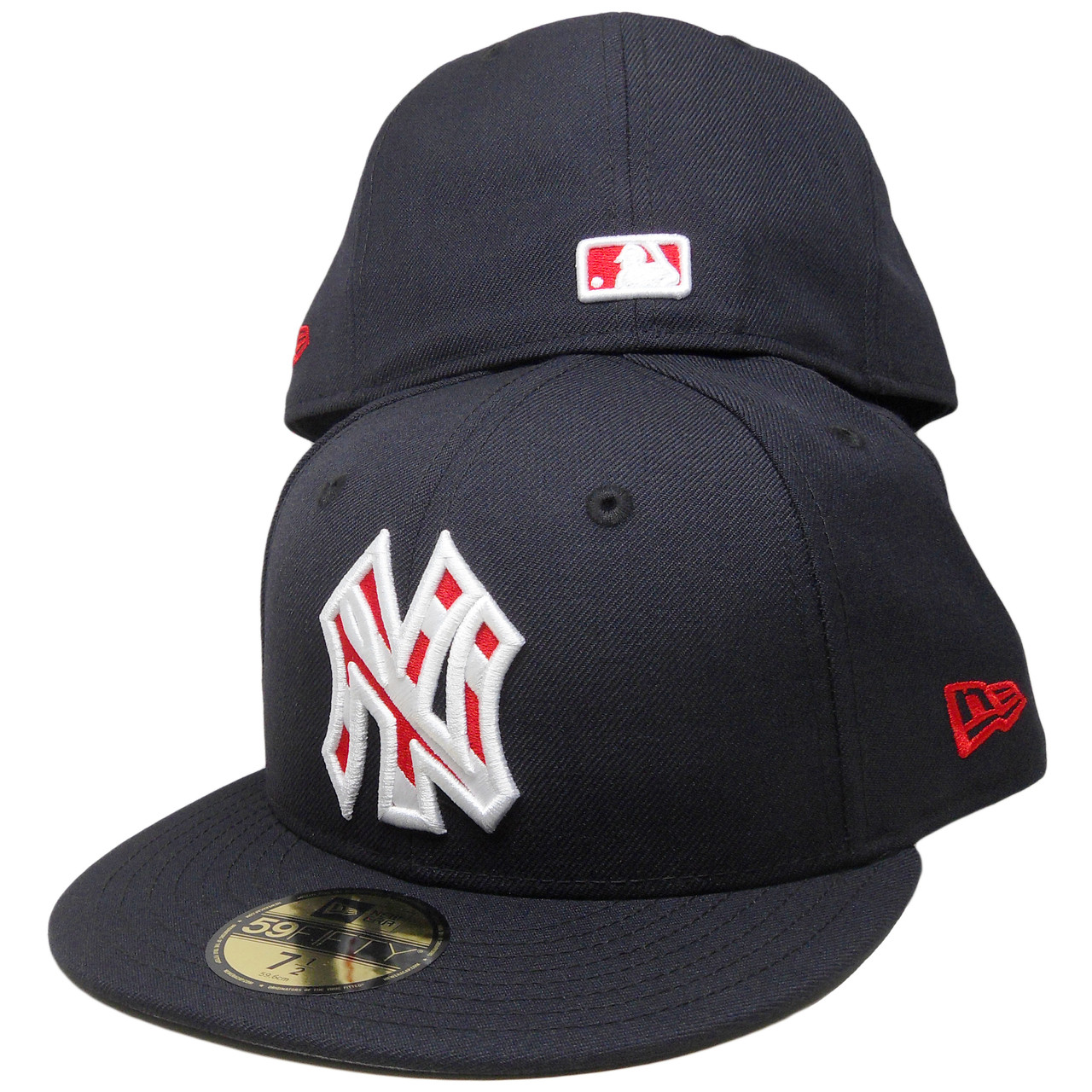 607f1e877ed84 New York Yankees New Era Striped Logo 59Fifty Fitted - Navy