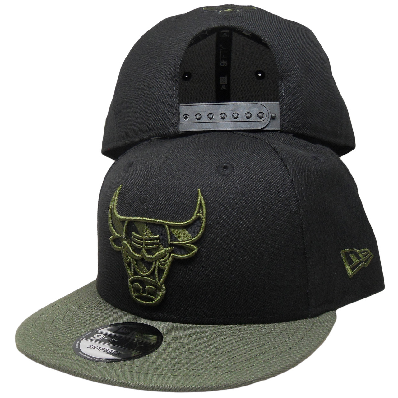 2d8752a9d1b ... italy chicago bulls new era custom 9fifty snapback hat black olive  ef54b 5995f