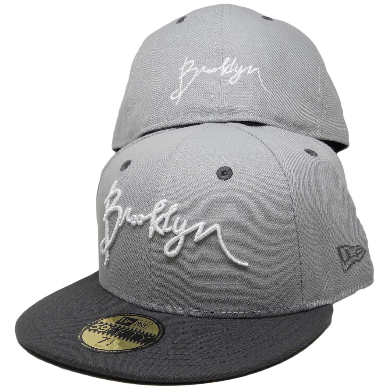 Script Brooklyn New Era Custom 59Fifty Fitted Hat - Gray 7d2419b3d22a