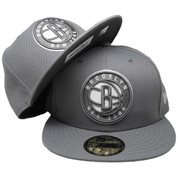 Brooklyn Nets New Era Custom 59Fifty Fitted Hat - Storm Gray, White