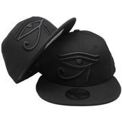 Eye Of Horus New Era Custom 59Fifty Fitted Hat - Black Tonal d10a37563904
