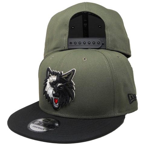 Minnesota Timberwolves New Era Custom 9Fifty Snapback - Olive, Black, Silver