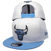 Chicago Bulls New Era Custom 9Fifty Snapback Hat - White, Sky Blue, Black