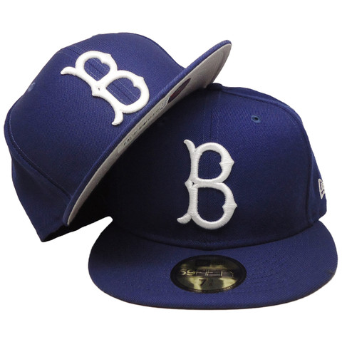 Brooklyn Dodgers New Era Gray Bottom 59Fifty Fitted Hat - Dark Royal, White