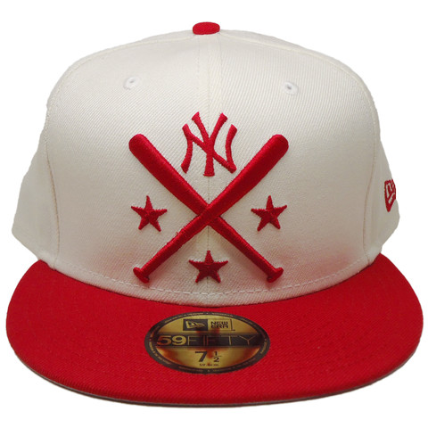 New York Yankees New Era Custom 59Fifty Fitted - Off White, Red