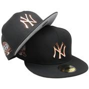 New York Yankees New Era Custom Metal Badge 59Fifty Fitted - Black, Rose Gold