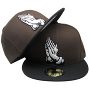 Praying Hands New Era Custom 59Fifty Fitted Hat - Brown, Black, White