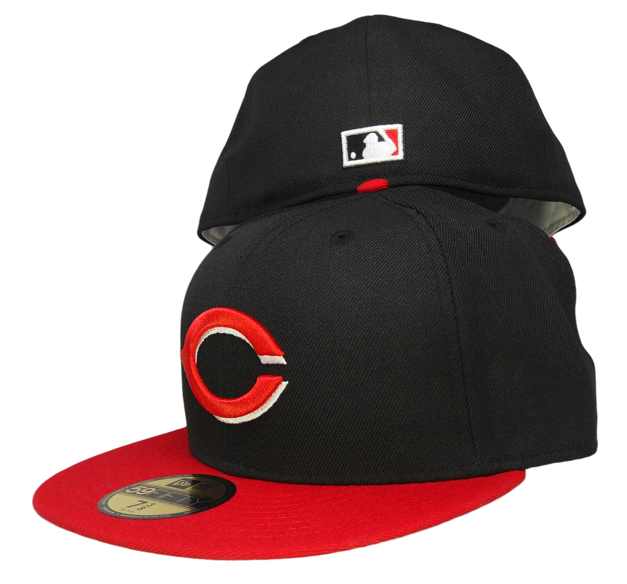 bdfcb5a0c9e34 Cincinnati Reds New Era Gray bottom 59Fifty Fitted Hat - Black