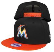 Miami Marlins New Era Kids 2Tone Snapback Hat - Black, Orange, White, Yellow