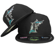 Florida Marlins New Era Classic Onfield Fitted Hat - Black, Teal, Silver