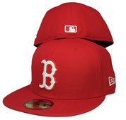 Boston Red Sox New Era 59Fifty Basic Fitted Hat - Red, White