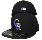 Colorado Rockies New Era Game Onfield Fitted Hat - Black, Varsity Purple, Silver