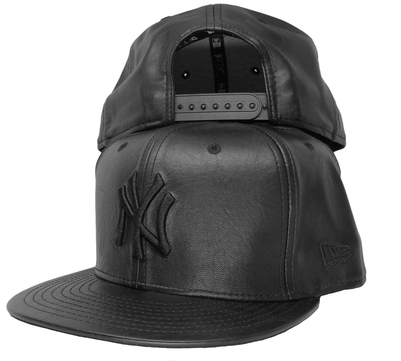 f26b372943d New York Yankees Custom All Leather Snapback - All Black ...