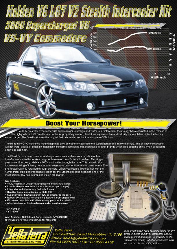 HOLDEN V6 ECOTEC L67 VS-VY V2 STEALTH INTERCOOLER KIT