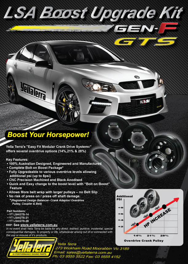 HOLDEN V8 LSA 6 2L VF GTS Boost Upgrade Kit #STAGE 2 (21% OVER-DRIVE)