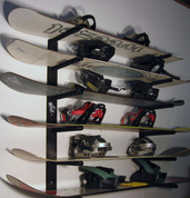 T-Rax Home and Garage snowboard storage rack.  T-Rax snowboard racks are 100% Made in the U.S.A.  Store your boards in style with T-Rax snowboard wall racks.