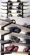 Heavy Duty No Rust Stainless Steel Hardware Included with all snowboard racks. T-Rax are great for organizing your garage or home. Work perfect for skis as well. View the 6 board version for more pics.