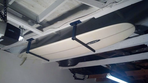 No Wall Space, No Problem! Get your Surfboard mounted on the Ceiling! T-Rax board racks are  100% Made in the U.S.A. in Southern California