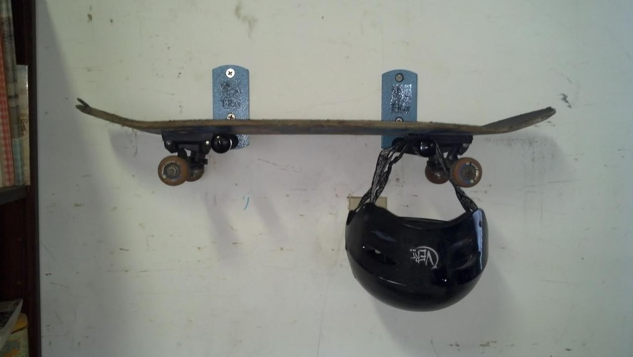 0aa061e6 Skateboard Wall Rack with Helmet in T-Rax Style. Made in the U.S.A.
