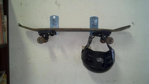 Skateboard Wall Rack with Helmet in T-Rax Style. Made in the U.S.A.