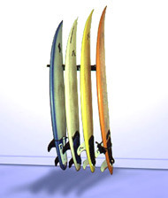 T-Rax Vertical Surfboard storage rack in surf shop style.  Get your boards lined up and looking good. Your surfboards are safe and secure with T-Rax. Made in the U.S.A.
