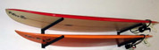 Surfboard Rack with Angled Support Bars.  Our surf racks are 100% made in the U.S.A. Organize your boards with T-Rax.