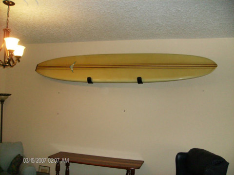 T-Rax Display Wall Rack is Extremely Strong! Classic Malibu Longboard Hanging in Style.