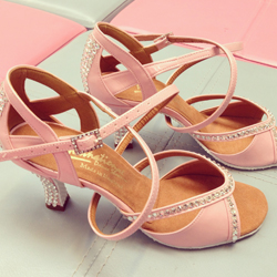 These 'Bianca Crystal' shoes have been made in Pink Patent, with a rubber sole for outdoor wear!