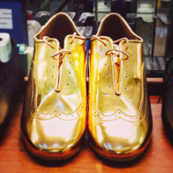 Here's a Bespoke pair of our 'Brogue' style, made in Gold.