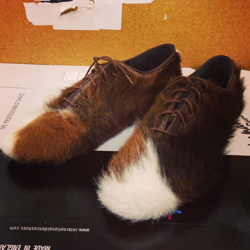 Here is a pair of Tango shoes made out of a cow skin rug!
