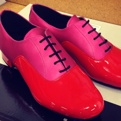 A very creative customer ordered a pair of our classic 'Oxford Duo' design in a Pink Seta/Red Patent combination!