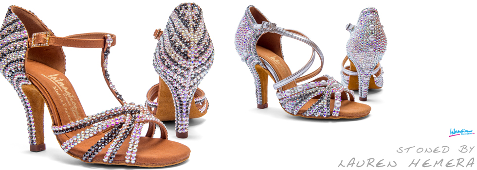 International Dance Shoes - Stoned with Swarovski Crystals by Lauren Hemera