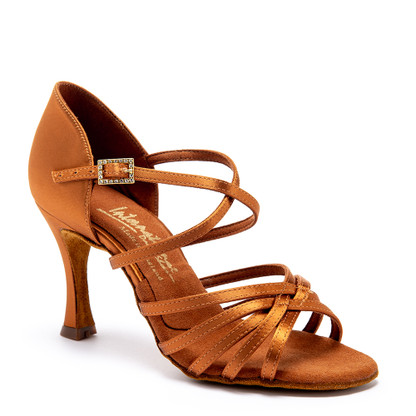 """Flavia - Tan Satin - Pictured on the 3"""" IDS heel."""