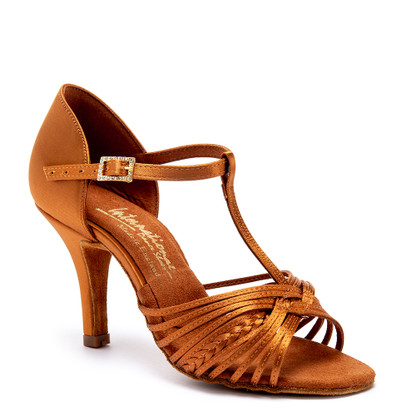 "Svetlana - Tan Satin - Pictured on the 3"" Elite heel."