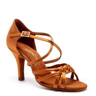 """Katarina - Tan Satin - Pictured on the 3"""" Elite heel."""