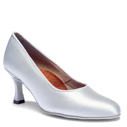 "ICS RoundToe - White Satin - Pictured on the 2.5"" IDS heel."