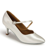 "ICS SuperStar SingleStrap - White Satin - Pictured on the 2.5"" Ultra Flare heel."
