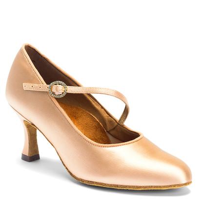 "ICS RoundToe SingleStrap - Flesh Satin - Pictured on the 2.5"" IDS heel."