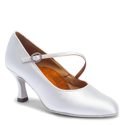 "ICS RoundToe SingleStrap - White Satin - Pictured on the 2.5"" IDS heel."