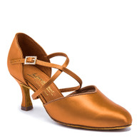 """American Smooth - Tan Satin - Pictured on the 2.5"""" IDS heel."""