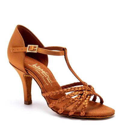 "Neeve Plaited - Tan Satin - Pictured on the 3"" Elite heel."
