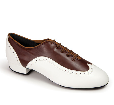 """Brogue - Brown/White - Pictured on the 1"""" heel."""