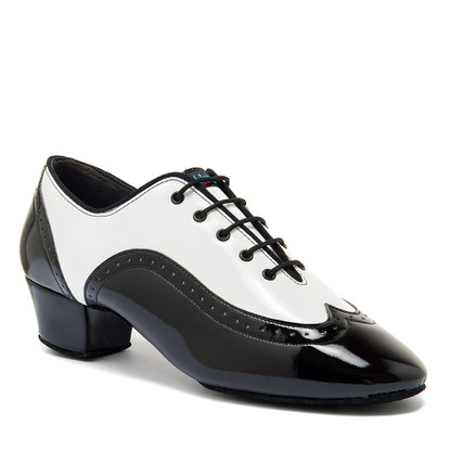 """Brogue Split - White Patent/Black Patent - Pictured on the 1.5"""" heel."""
