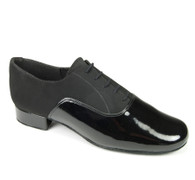 "Oxford Duo - Black Nubuck/Black Patent - Pictured on the 1"" heel."