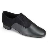 "Oxford Duo - Black Nubuck/Black Calf - Pictured on the 1"" heel."