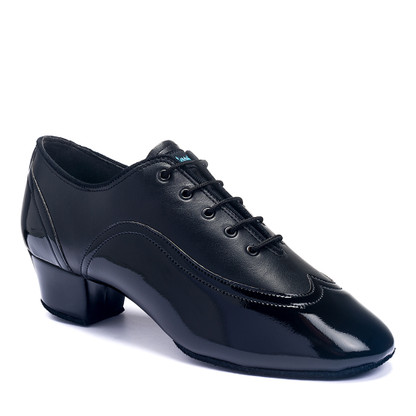 "Jones - Black Calf/Black Patent - Pictured on the 1.5"" heel."