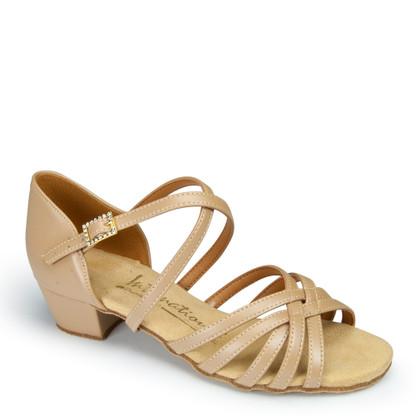 "Girls Flavia - Beige - Pictured on the 1.25"" Cuban heel."