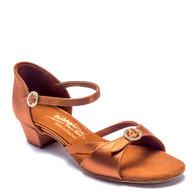 "Girls Natasha - Tan Satin - Pictured on the 1.25"" Cuban heel."